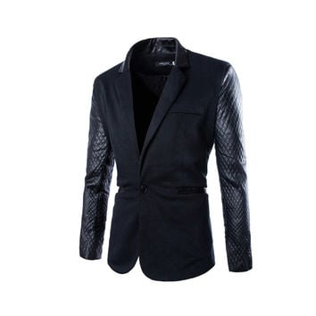 2015 New Arrival Casual Slim Fit Stylish Patchwork Mens Blazers High Quality Men's Blazer Jacket Suits
