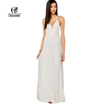 ROLECOS New Brand Women Summer Long Dress Sleeveless Strapless White Chiffon Lolita Maxi Dress