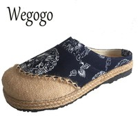 Wegogo Women Slippers Old Beijing Boho Cotton Linen Canvas Cloth Shoes National Handmade Woven Round Toe Flat Shoes Embroidered