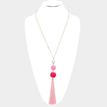 Pink Ombre and Gold Triple thread Pom Pom ball & tassel drop long necklace