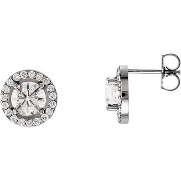14K White Gold 4mm Round Forever One™ Moissanite & 1/6 CTW Diamond Earrings