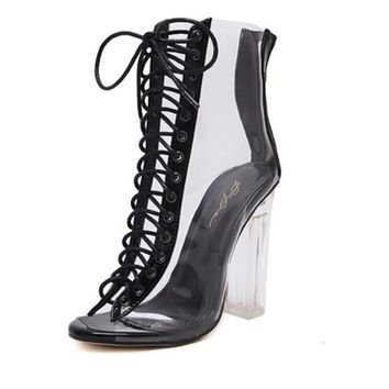 2017 Women Gladiator Sandals PU Clear High Heel Transparent Boots Lace Up High Top Bootie Pumps Perspex Lucite Summer Shoes