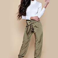 Paris Khaki High Waist Jogger Trousers
