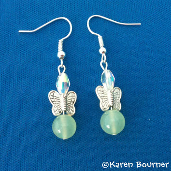 Chinese Jade and Butterfly Gemstone Earrings