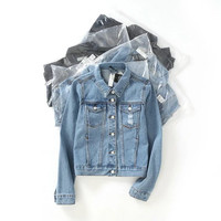 casual short jaqueta jeans jacket women slim basic holes denim jacket washed women