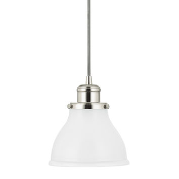 Capital Lighting Fixture Company 4551PN-128 Baxter Polished Nickel One-Light Mini-Pendant with Milk Glass