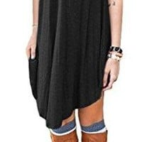 DEARCASE Women's Short Sleeve Casual Loose Fit T-Shirt Tunic Dress