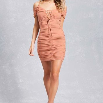 Ruched Lace-Up Dress
