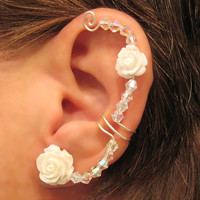 "Non Pierced Ear Cuff  ""Forever Beautiful in Bling"" Cartilage Conch Cuff Silver tone Wedding Bridal Prom Quinceanera"
