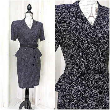 Vintage 80s  secretary dress / size 6 / 7 / 1980s pin up girl dress / sexy secretary / rockabilly dress / 80s womens dress