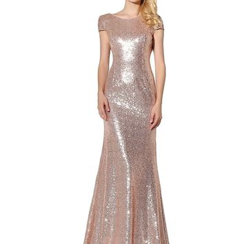 Woman's Sequined Formal Party Dresses Full Length Bridal Gowns Long Dresses