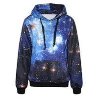 ERLKING Women's Colourful Printing Blue Galaxy Hooded Pullovers Sweatshirts