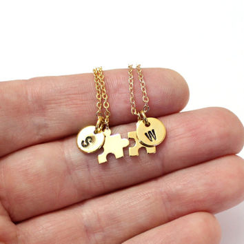Set of Gold Best Friends,Matte Puzzle Piece Necklaces,Matt Gold Plated BFF Puzzle Piece Charms, nitial Necklace,Personalized Stamped Initial
