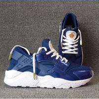 """""""NIKE""""AIR Huarache Running Sport Casual Shoes Sneakers (Navy blue-white soles) H-A"""