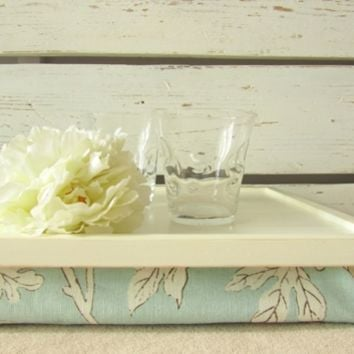 Laptop Lap Desk or Breakfast serving Tray - Off White with Sky Blue Aqua- Custom Order