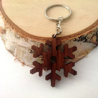 Wooden Snowflake Keychain, Winter's Wooden Keychain, Cool Keychain, Wooden Gift Keychain, Environmental Friendly Green materials