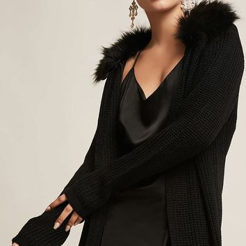 Faux Fur Ribbed Knit Cardigan