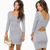 Tight sexy backless stripe dress FJ5Fe