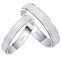 Platinum Plated Frosted Couple Wedding Rings