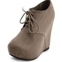 Sueded Lace-Up Wedge Bootie: Charlotte Russe
