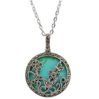 Sterling Silver Turquoise & Marcasite Floral Enhancer Pendant With 18 Inch Chain