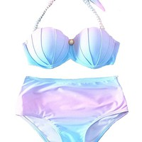 YAOYUE-US Womens Mermaid Shell Bikini Sets Pearl Strap Halter Padded Push-up Swimsuit Beachwear