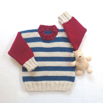 Toddler sweater - 12 to 24 months - Kids striped jumper - Kids knit clothing - Childrens sweater