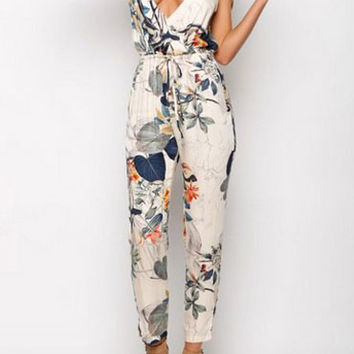 V-neck Flowers Printed Straps Jumpsuit Siamese Pants Trousers