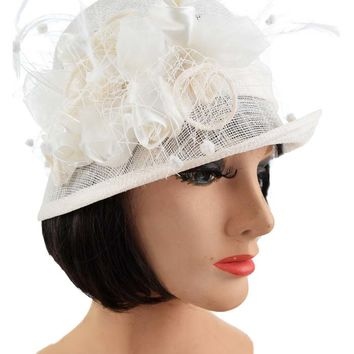 Ivory Sinamay Satin Rose Feather Accent Cloche Hat