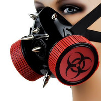 Red Bio Hazard Sign Cosplay Respirator Gas Mask