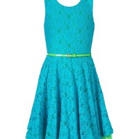 Beautees Dress, Girls Belted Lace A-Line - Kids Girls 7-16 - Macy's
