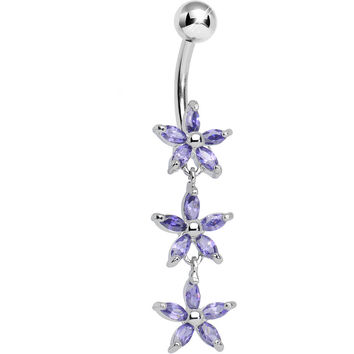 Purple Gem Triple Spring Flower Dangle Belly Ring