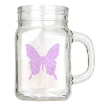 Faux Purple Glitter Butterfly Mason Jar