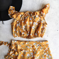 reverse - with me two piece set - mustard floral