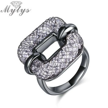 Mytys Black Color Tungsten Alloy Geometric Square Ring for Women Wire Mesh Net Tube Filled With Crystal Ring New Design R1873