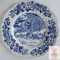 Blue English Transferware Plate The Bells of Christmas Snow Covered English Cottage Holy Trinity Church