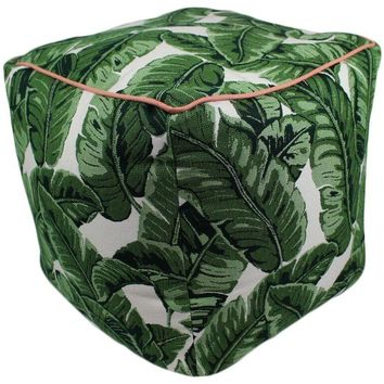 Tropical Jungle Leaves Sunbrella Fabric Indoor/Outdoor Square Pouf Ottoman Cube