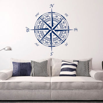 Compass Wall Decal Vinyl Stickers Nautical Decor- Nautical Compass Rose Wall Decals For Living Room Bedroom Nursery Wall Art Home Decor C121