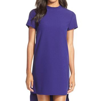 Women's Charles Henry Mock Neck Crepe Shift Dress,