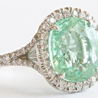 Rare Natural GIA 6.02 Carat Paraiba Diamond Platinum Ring