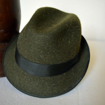 Green Tweed Wool Felt Trilby - Narrow Brim Furry Wool Felt Handmade Trilby Fedora Hat - Men Women
