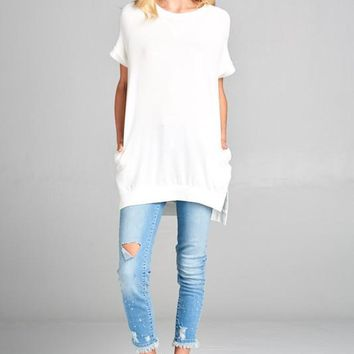 Crew Neck High Low Top - Ivory
