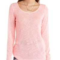 Caged Back Long Sleeve Tunic Top by Charlotte Russe - Neon Pink