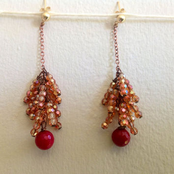 Tassel Fringe Post Earrings of Deep Rose Iridescent Crystal Glass with Purple Jade Drop with Antique Copper and 14 KT gold Fill Posts
