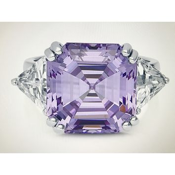 A Flawless Lavender 13CT Asscher Cut Russian Lab Diamond Engagement Ring