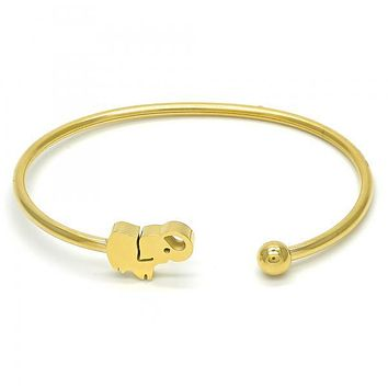 Stainless Steel 07.265.0011 Individual Bangle, Elephant Design, Polished Finish, Golden Tone (03 MM Thickness, One size fits all)
