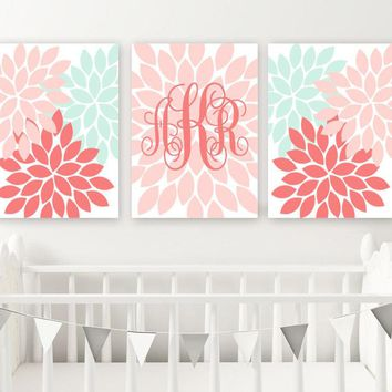 CORAL MINT Nursery Wall Art, Baby Girl Monogram Decor, Coral Mint Girl Flower Artwork, Set of 3, Canvas or Prints, Monogram Above Crib Decor