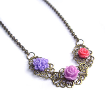 Flower necklace purple lilac pink filigree flower by JPwithLove