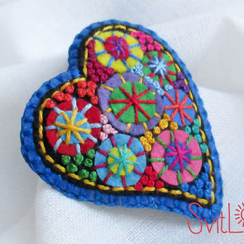Happy heart. Blue Fireworks .Felt brooch. Valentine's Day gift. Hand embroidery. French knot. Gift for her. Holiday fireworks.