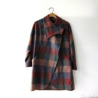 vintage plaid wool coat / women's cape cloak / checkered long coat.